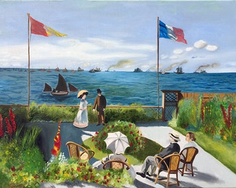 Appropriation of Monet's Garden at Sainte-Adresse ( fine art / oil painting / monet / appropriation )