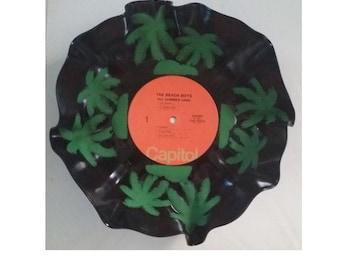 Repurposed Vinyl Record Bowl Beach Boys & Palm Trees