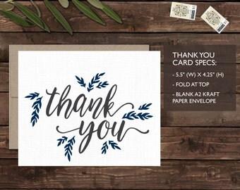Wedding Thank You Card - Rustic Wedding Set - Organic, Boho, Barn, Farm, Simple, Elegant Style, Set of 25