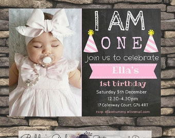 Printable Baby 1st Birthday Invitation - Photograph - Choose your colour (Pink or Blue) - Chalkboard