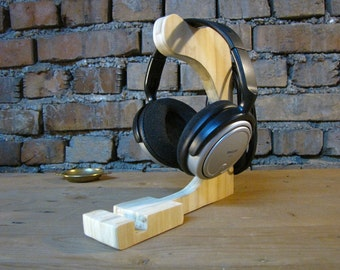Headphone and iPhone, iPad, tablet stand - bamboo