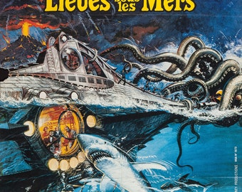 20,000 Leagues Under The Sea - Vintage French Movie Poster Variant RePrint
