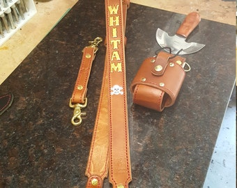 Firefighter/EMS Radio Radio Strap+Anti-Sway Strap and Radio Holster (Saddle Tan)