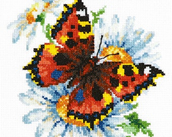 Cross stitch kit Butterfly and daisies