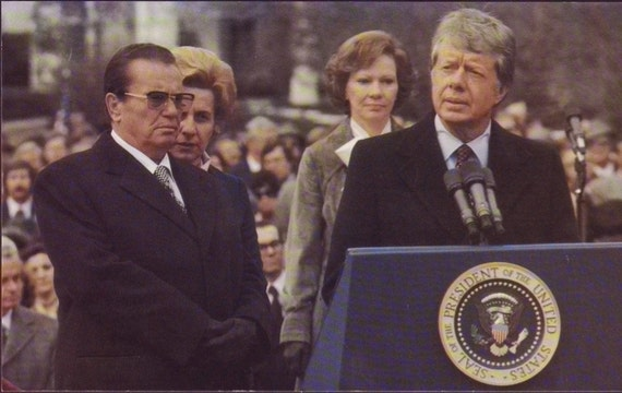 Vintage postcard ~ President Jimmy Carter and Rosalynn Carter with Marshall Tito of Yugoslavia ~ political gift ~ gift for him ~ America