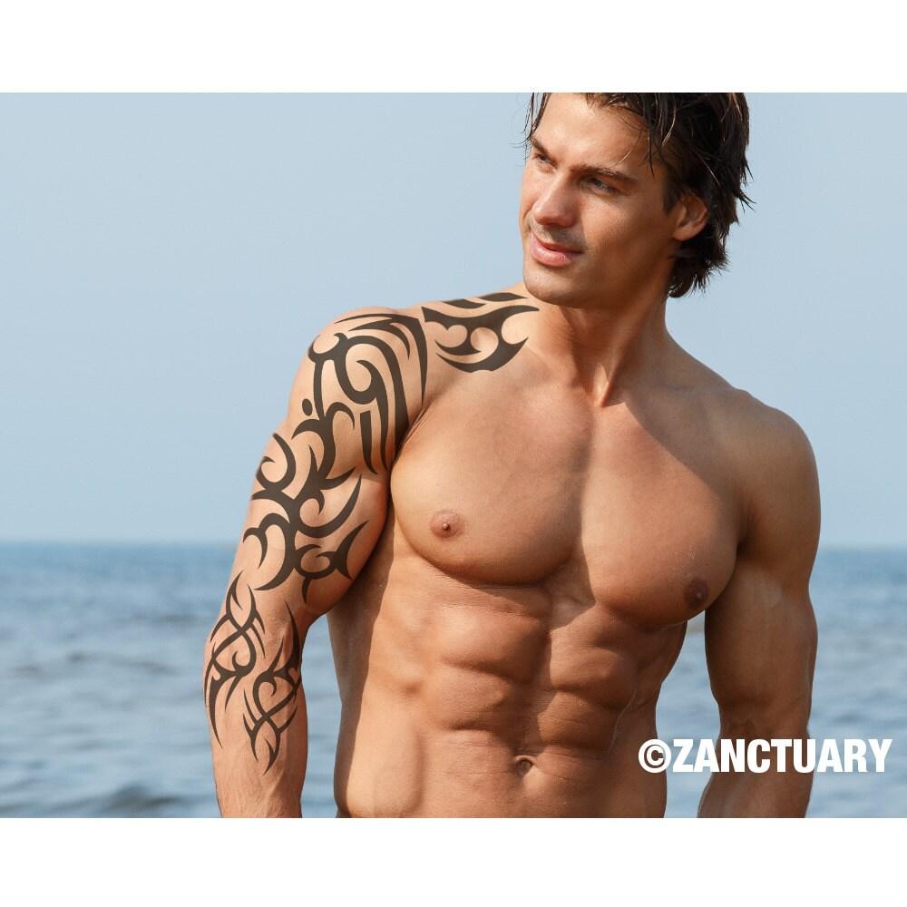 Tribal temporary tattoo sleeve tribal arm tattoo full arm for Fake tattoo creator