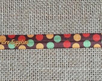 Fall Polka Dot Fold Over Elastic- Thanksgiving fold over elastic- Polka Dot FOE- Turkey FOE- Wholesale- DIY Headband-