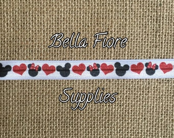 Heart Fold Over Elastic- Mickey Minnie Mouse FOE- Fold Over Elastic- Wholesale Elastic- DIY Headband- Valentines Day FOE-  By The Yard