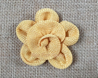 Yellow Burlap Flowers, Burlap Flowers-3 inches, Burlap Flowers, Wedding Supply, Burlap Rose