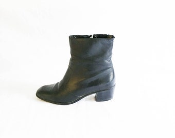 Chelsea Boots - Leather boots - Black chelsea boots - size 7 boots - leather ankle boots - Selby boots - zip up leather boots - Beatles boot