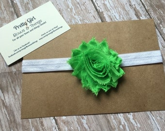 Lime green shabby flower headband