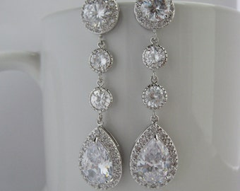 Long Bridal Cubic Zirconia Earrings Wedding Crystal Earrings Wedding Teardrop Long Rhodium Earrings