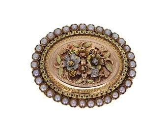 White Rose and Yellow Gold and Pearl Victorian Brooch