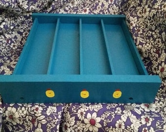 Sloped Egg Rack - 28 Chicken Eggs (Counter or Fridge Storage) Turquoise Paint