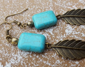 Earrings turquoise earrings turquoise bronze boho vintage earrings