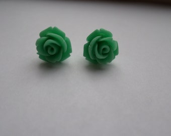Mint Rose Studded Earrings