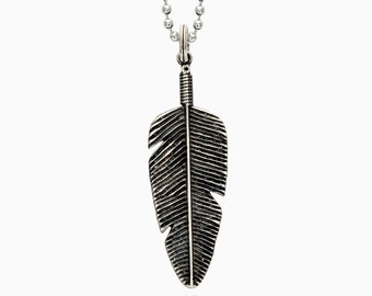 140 SILVER BIG FEATHER necklace