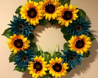 Sunflower and Blue Flower Grapevine Wreath