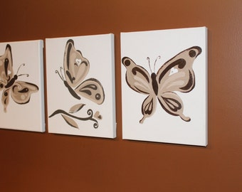 Butterfly series with heart browns nursery wall decor painting
