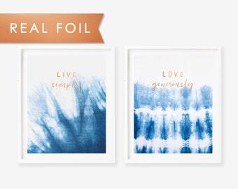 Set of 2 Indigo Shibori Live Simply & Love Generously Copper Foil Art Print