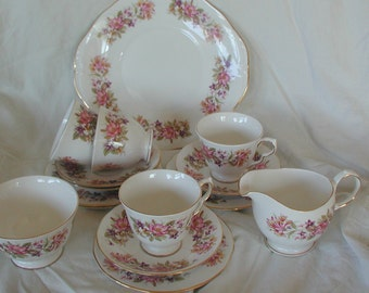Vintage Colclough Tea Set Floral Spring Design 15 Pieces Collectible China