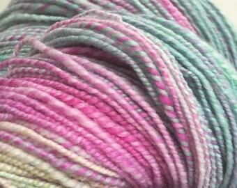 Handspun, Hand Dyed, 2 ply Merino Yarn. GELATO.