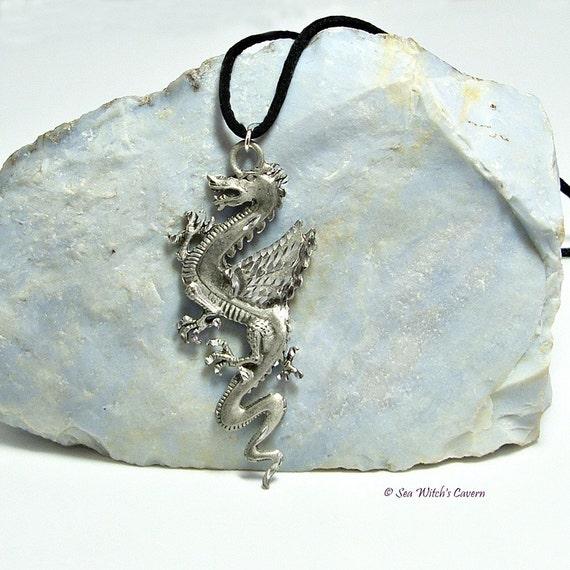 Dragon necklace pewter pendant dragon gift for men unisex for Dragon gifts for men