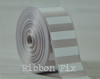 """2 yards 7/8"""" Silver Grey with White Vertical Stripe Grosgrain Ribbon - Gray Bold Stripes - Sewing - Wedding - Baby Gift - Dog Collar Leash"""