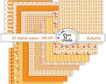 Digital Paper, Thanksgiving, Paper pad, Autumn, scrapbooking paper, digi paper, SALE