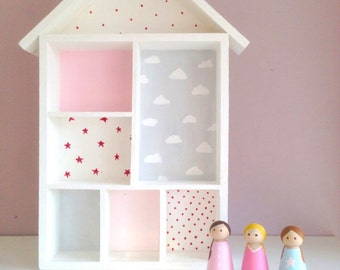 Wooden Dolls house or wall hanging with peg dolls all hand painted