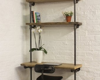 Baines Bespoke Reclaimed Scaffolding Boards and Dark Steel Pipe Adjustable Shelves Bookcase with Incorporated Desk - www.urbangrain.co.uk