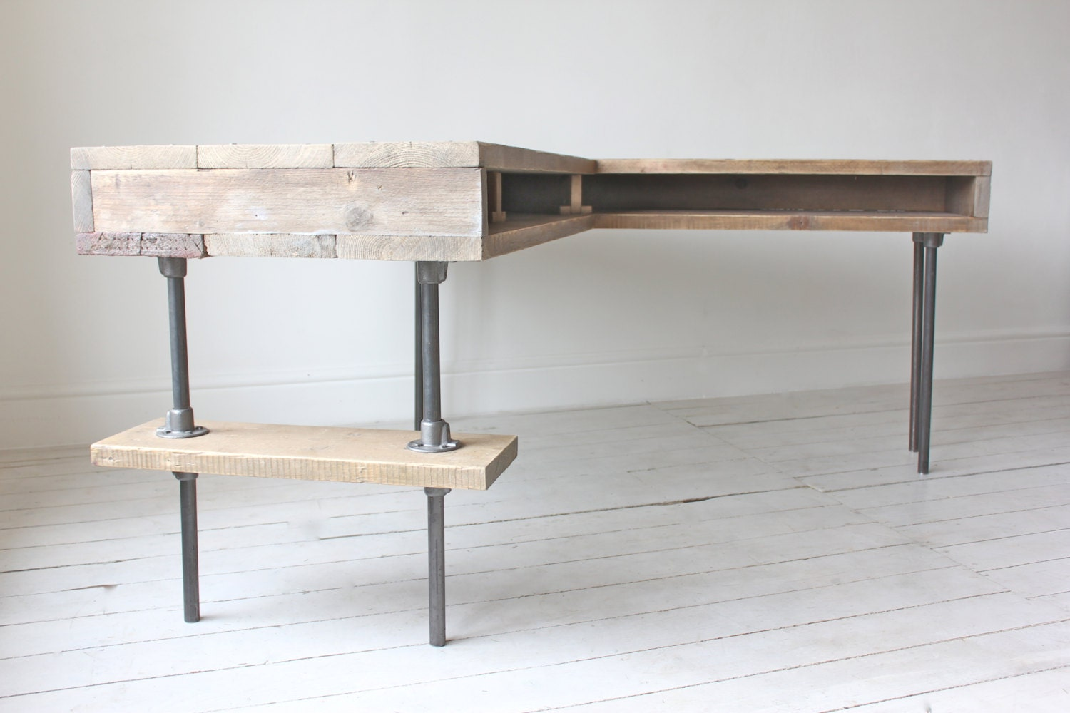 Stuart Reclaimed Scaffolding Board Industrial Corner L-Shaped Desk with  Built In Storage and Steel - L Shaped Desk Etsy