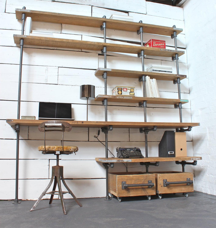 Industrial Desk caroline reclaimed scaffolding boards and dark steel pipe