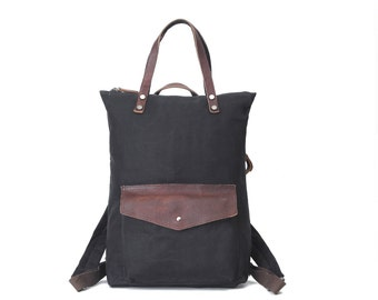 Tote & backpack, Multi-functional Waxed Canvas Bag (Black)