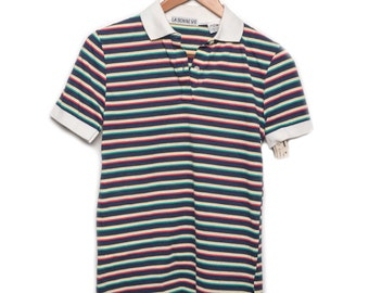 Vintage La Bonne Vie striped polo shirt