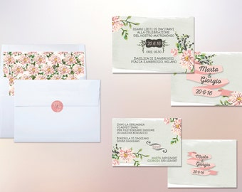 -Floral wedding invitation set