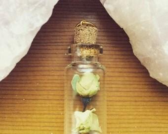 White Rose Bud Filled Bottle Pendant