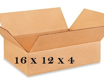 """25 Flat Corrugated Boxes 16 x 12 x 4"""" - 200 lb. Test - Shipping Supplies - FREE SHIPPING"""