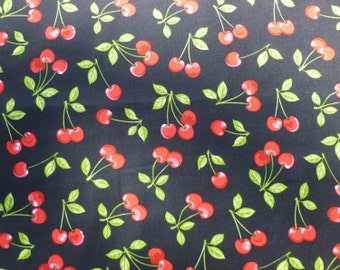 Fruit Basket Screen Print D # 6798 - Retro Cherry Clusters on Black Background 100% Cotton - Half Yard
