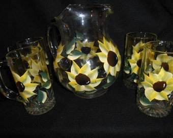 Beautiful Hand Painted Sunflower Pitcher and 4 heavy mugs ~ Sunflower Drink Set