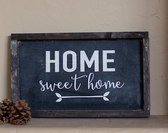 Wood Sign, Home Sweet Home // wooden sign home decor rustic distressed farmhouse