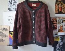 Vintage LL Bean Sweater - Vintage Button down cardigan - vintage red and gray LL Bean Cardigan - LL Bean - wool cardigan