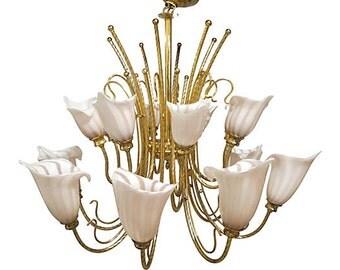 Murano Venini Brass Chandelier, Pink Murano Venini Chandelier