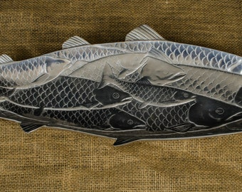 Funky Engraved White Metal Fish Tray
