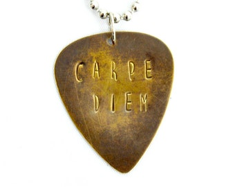 Carpe Diem Guitar Pick Necklace; Seize the Day; Antiqued Brass Guitar Pick; Hand Stamped; Music Lovers Gift; Unisex Necklace; Personalized