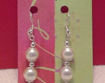 925 Sterling Posts White Ball/Sphere Dangle Earrings