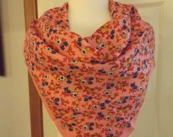 Pink Floral Scarf, Vintage, Retro, Womens Accessory, Pink with Blue White Yellow Tiny Flowers