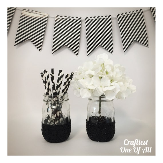 Https Www Etsy Com Listing 261268718 Set Of Two Black Glitter Mason Jars Home
