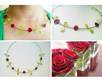 Roses necklace, nail polish roses, red roses necklace, nail polish flower, handmade flower necklace