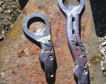 hand forged horseshoe bottle opener